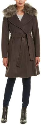T Tahari Womens Fiona Wool-Blend Wrap Coat, M