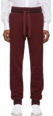 Dolce & Gabbana Burgundy Striped Cuff Lounge Pants