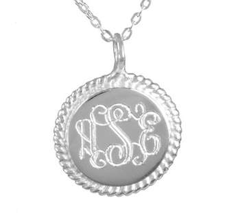 Heights Jewelers 24K Gold Plated Sterling Silver or Sterling Silver Accent Engraved Monogram Necklace