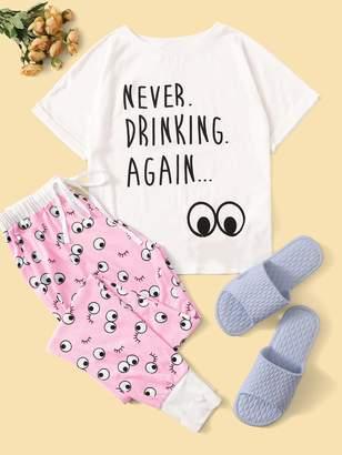 Shein Slogan Print Cuffed Top & Contrast Trim Eye Print Pants PJ Set