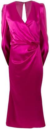 Talbot Runhof V-neck crepe dress