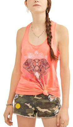 No Boundaries Juniors' Graphic Criss Cross Knotted Front Tank