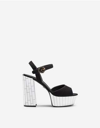 Dolce & Gabbana Wool Crepe And Gros Grain Sandals With Mirrored Mosaic Platform