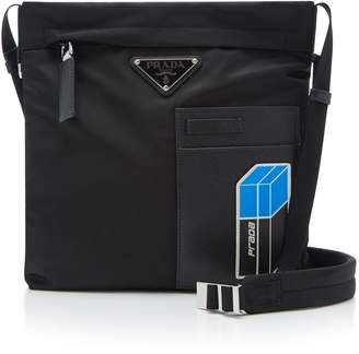 Prada Leather-Trimmed Shell Messenger Bag