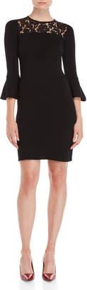 Eliza J Black Lace Yoke Knit Dress