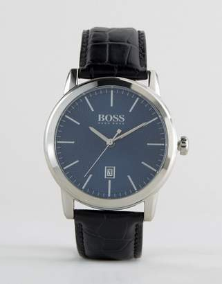 BOSS 1513400 Classic Leather Watch In Black