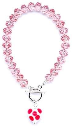 Murano Amanti Venezia Pink Crystal with Pink/White Genuine Heart Bracelet of 19.5cm