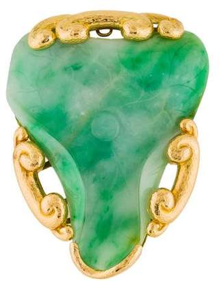 David Webb 18K Jadeite Convertible Brooch Pendant