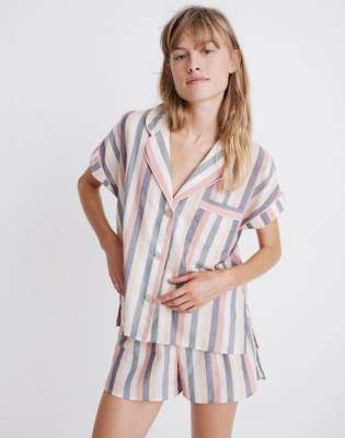 38fad79647a Madewell Flannel Bedtime Pajama Shorts in Lonnie Stripe