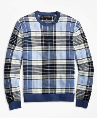 Brooks Brothers Supima Cotton Plaid Crewneck Sweater