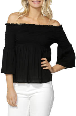 Sass Audra Shirred Bell Slv Top