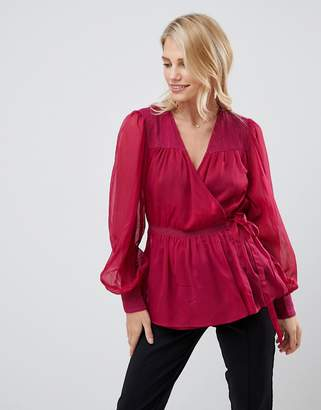 Asos DESIGN sheer long sleeve wrap top with lace inserts