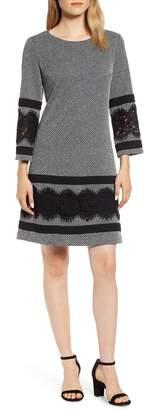 Karl Lagerfeld Paris Lace Detail Tweed Dress