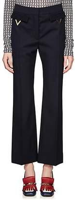 Valentino Women's V-Ornament Wool Wide-Leg Pants - Navy