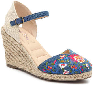 Me Too Betty Espadrille Wedge Sandal -Blue/Tan Floral Embroidered Denim - Women's