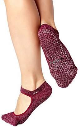 Shashi Red/Silver Open Top Non Slip Ergonomic Socks Pilates Barre Ballet Yoga Dance Metallic Burgundy/5.5-7.5