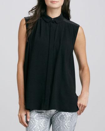 Faith Connexion Tiger-Stripe-Backed Shirt, Black