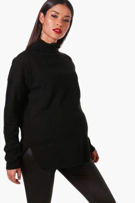 boohoo Maternity Roll Neck Textured Jumper