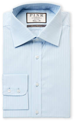 Thomas Pink Classic Fit Herringbone Long Sleeve Dress Shirt