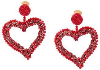 Oscar de la Renta heart clip earrings