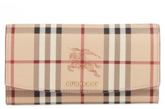 Women's Burberry Halton Haymarket Check Faux Leather Wallet - Pink $475 thestylecure.com