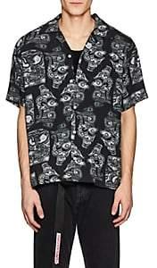 Saturdays NYC Men's Canty Dragon-Print Linen Camp Shirt - Black