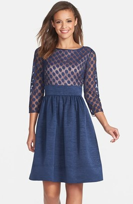 Women's Eliza J Dot Mesh Bodice Fit & Flare Dress $158 thestylecure.com