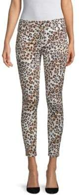 Animal-Print Cropped Skinny Jeans