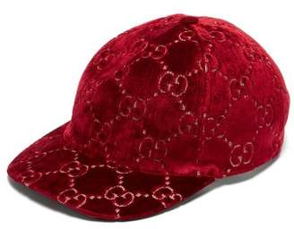 Gucci Gg Embroidered Velvet Cap - Womens - Red