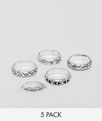 Reclaimed Vintage Relaimed Vintage inspired ring pack in silver exclusive at ASOS