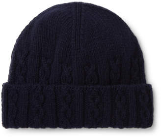 Inis Meáin Cable-Knit Merino Wool Beanie - Men - Blue