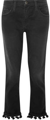 Current/Elliott - The Cropped Pompom-trimmed High-rise Straight-leg Jeans - Black $260 thestylecure.com