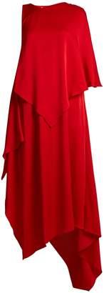 Osman Thalia asymmetric-panel satin dress