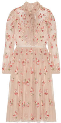 Needle & Thread - Ditsy Pussy-bow Embellished Tulle Dress - Blush $395 thestylecure.com