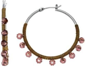Vera Wang Simply Vera Pink Stone Wrapped Hoop Earrings