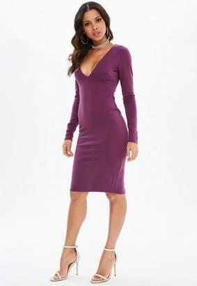 Missguided Purple Ponte Long Sleeve Midi Dress