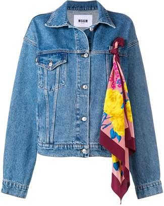 MSGM scarf embellished denim jacket