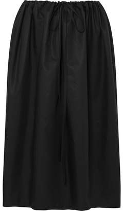Atlantique Ascoli Cottage Ruched Cotton-poplin Skirt - Black