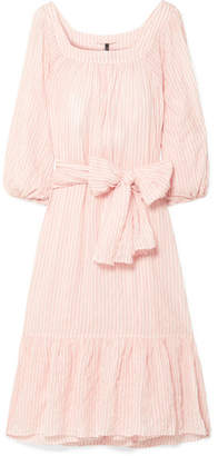 Lisa Marie Fernandez Laure Striped Crinkled-voile Midi Dress - Blush