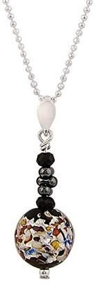 Amanti Venezia Teal and Black Murano Glass Square Bead Pendant on a Chain of 46cm 5BFIWU7OT