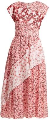 GÜL HÜRGEL Contrast-panel floral-print cotton dress