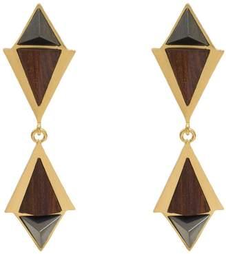 "Stephanie Kantis Convoy Earring | Color: Gold | 24 Karat Gold Plate Wood, Hematite | Width: 0.4"""