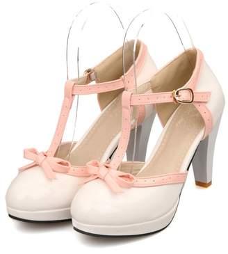 Lucksender Fashion T Strap Bows Womens Platform High Heel Pumps Shoes 5B(M) US