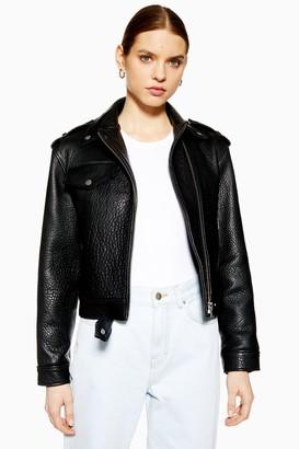 Topshop Womens **Ultimate Leather Biker Jacket By Black