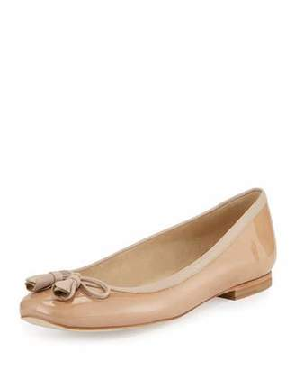 Stuart Weitzman Tulipbow Patent Ballerina Flat, Adobe $325 thestylecure.com