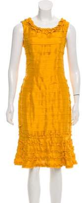 Oscar de la Renta Silk Textured Sheath Dress
