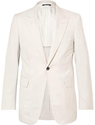 Dunhill Cream Kensington Slim-Fit Mulberry Silk-Seersucker Suit Jacket