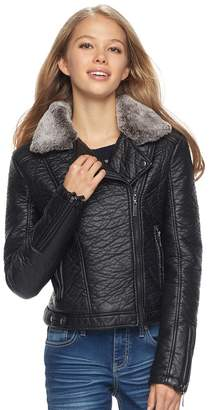 J 2 Juniors' J-2 Faux Fur Trim Textured Faux-Leather Jacket