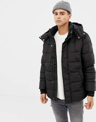 Benetton hooded puffer jacket in black