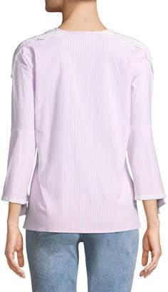 Neiman Marcus Striped Lace-Shoulder Blouse